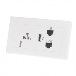 WPL1208 300Mbps 118-120-type US-standard Wall Wireless AP for Hotel Domitory Office Rooms USB Charge Access Point Socket WiFi Extender Router