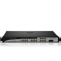 24 Port Gigabit POE Switch with 24 Full-gigabit 1000M Poe Ports 2 Gigabit Optical SFP Slots Power to IPCams, WiFi AP